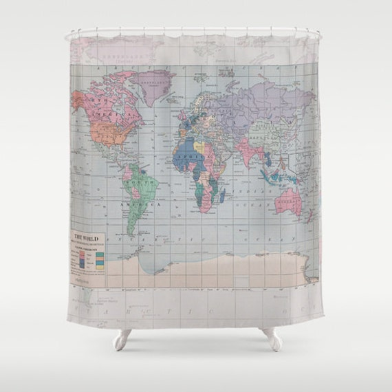 World Map Shower Curtain Historical Map Fabric Curtain