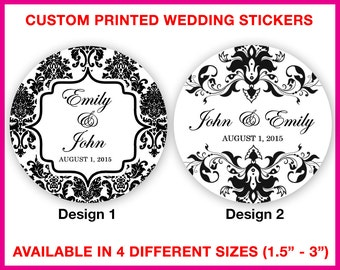 Damask Wedding Stickers - Wedding Favor Stickers - Wedding Labels - Custom Wedding Stickers - Custom Stickers Wedding - Damask Stickers
