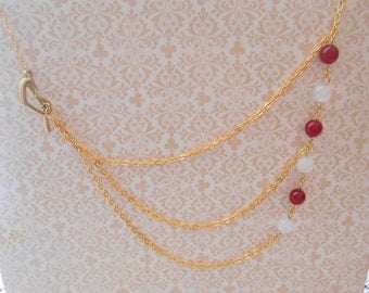 Red Ruby and White Jade Multi Strand Necklace