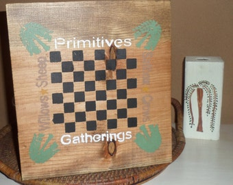 """Hand Crafted Rustic """"Primitives Saltbox Crows Willows Sheeps Gatherings"""" Willow Tree Game Board Sign Wood Home Decor Primitive Wall Hanging"""
