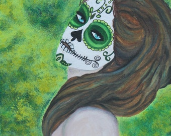 Giclee PRINT 11x14 Day of the Dead Lady Acrylic Emerald Esmeralda Nude Sugar Skull Painting Ready To Hang Woman Wall Art to Hang Modern