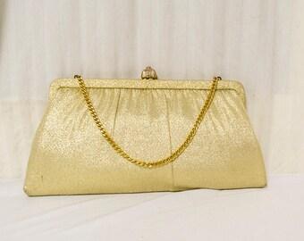 Free Ship,Clutch,gold, Handbag, H.L. USA, Gold,vintage,bags purses