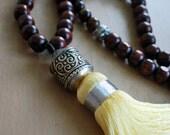 Mala necklace,108 Tibetan Prayer beads.Tibetan Amber jewelry,Smoky Quartz Mala Necklace,Moroccan Tassel necklace, Tiger eye jewelry mala