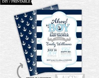 Light Blue, Navy and Grey Boy Baby Shower invitation Nautical baby Shower DIY Printable (PDNMO301)
