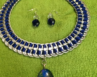 Navy Blue Ribbon Soda Tabs Necklace with Earrings