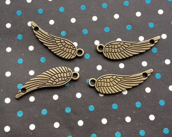 20 pcs 9x30mm of Antique Bronze wing Charms feather Charms