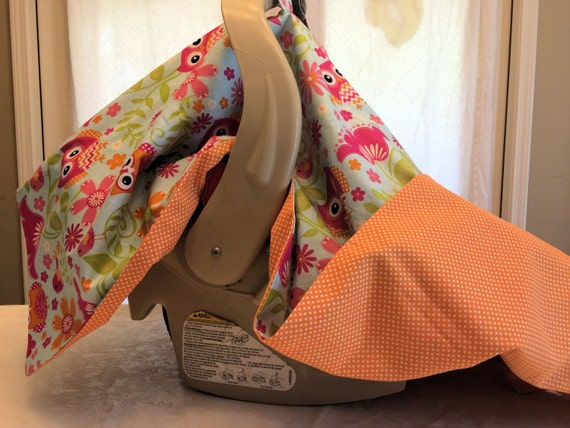 infant car seat canopy owls with orange by 2krazyladiescrafts. Black Bedroom Furniture Sets. Home Design Ideas