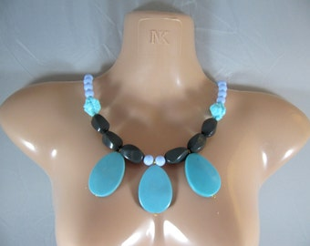 One-of-a-Kind Chunky Turquoise Beads, Chunky Gray Beads & Light Blue Beads Statement Necklace / Bib Necklace - Hand-Made by Me