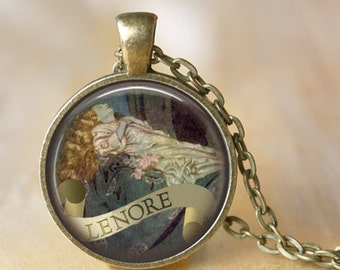 EDGAR ALLAN POE Necklace Lenore Poem Art Necklace Literary Jewerly Pendant Book Art Necklace Handmade Jewerly