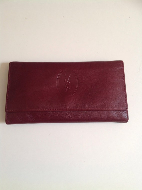 Vintage Yves Saint Laurent Red Leather Wallet by styleback