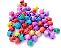 100 Bell Beads, Christmas Bells, Christmas Beads, Jingle Bell Charms, Mixed Colour Bells, Christmas Jewelry, Christmas Decoration, UK Seller