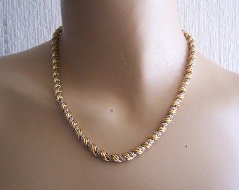 One Only * Monet Authentic Vintage Gold/Silver Tone Twist Chain Necklace