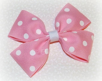 Pink Polka Dot Bow ~ Pink Boutique Bow ~ Pink & White Bow ~ Pastel Pink Bow ~ Pink Hair Clip ~ Pastel Bow ~ Large Pink Bow ~ Light Pink Bow