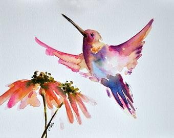 ORIGINAL Watercolor Bird Painting,  Pink Hummingbird with Orange Pink Flower 6x8 Inch
