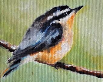Original Oil Bird Painting, Impressionist Nuthatch Bird On A Branch 6x6 Inch