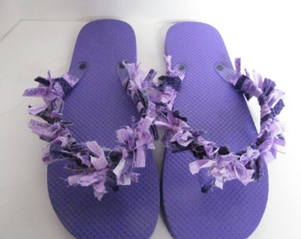 Purple fabric flip flops fabric sandals beach flip flops rag flip flops purple sandals