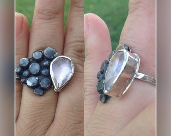 Oxidized silver nugget ring with rose quartz