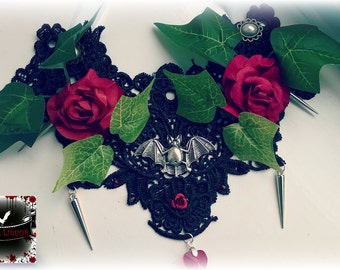 Gothic Lace bat necklace