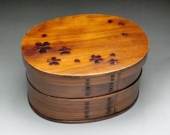 Japanese Bento Lunch Box Magewappa Lacquered 2 Tier Box Natural Wood