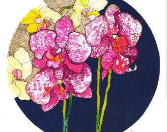 Gold Orchids // A3 Giclée Print // Illustration