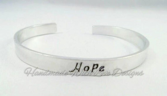 Hope Hand stamped Cuff Bracelet