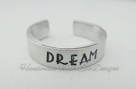 Dream Hand Stamped Cuff Ring