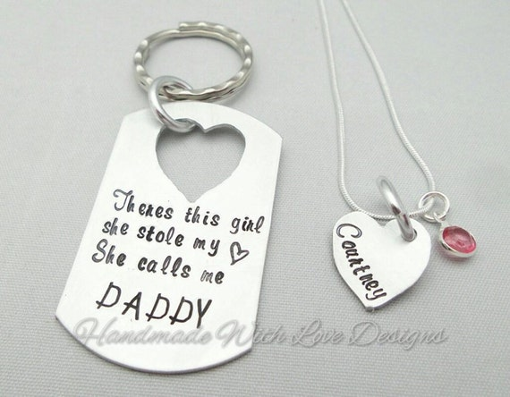 Daddy daughter Hand Stamped key ring chain pendant set