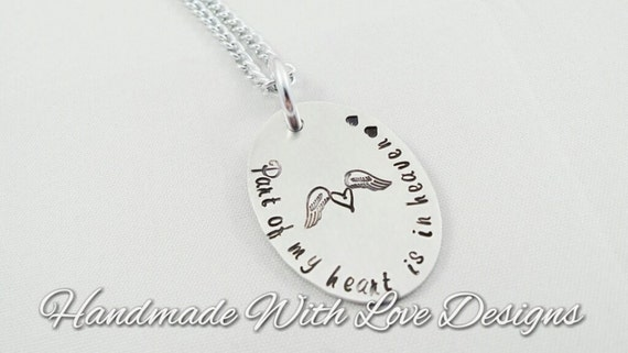 Part of my heart is in heaven, loss, memorial, pendant - handstamped necklace, memorial pendant, jewellery, baby loss jewelry,