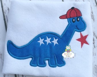 Dinosaur with star and hat Patriotic or 4th of July Shirt or Bodysuit, Independence Day, 4th of July Parade, Patriotic, Fireworks