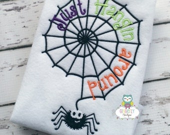 Just Hangin Around Spiderweb Spider Shirt, Halloween Shirt, Halloween, Trick or Treat, Spiderweb Shirt