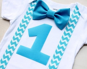 Blue First Birthday Outfit, Boy Cake Smash Outfit