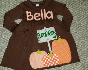 Fall Dress- Pumpkin Dress-Pumpkin Appliqué Dress-Toddler girl dress-Personalized pumpkin Dress