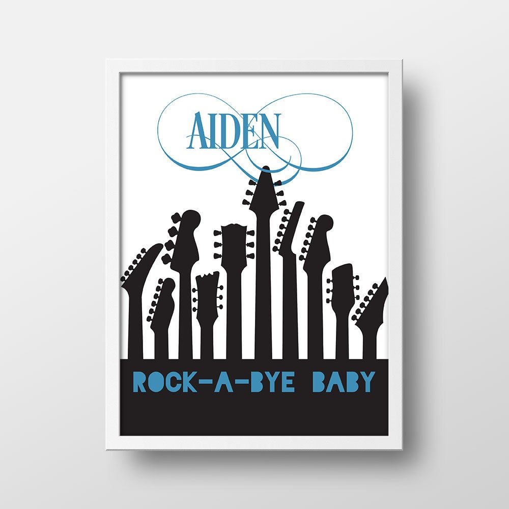 Rock a bye baby nursery print nursery decor nursery wall for Rock n roll baby crib set