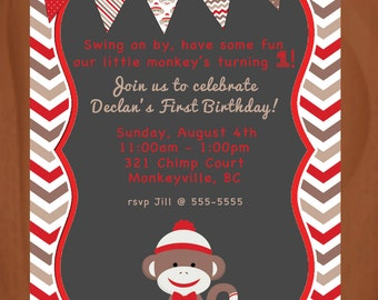 Personalized Bithday Invitation - SOCK MONKEY - Red - Chevrons - Bunting - 4x6 or 5x7