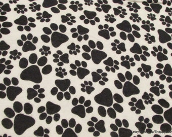 Flannel Fabric - Paws Black - 1 yard - 100% Cotton Flannel