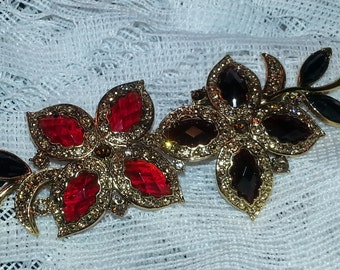 Vintage Monet two tone red stone flower brooch