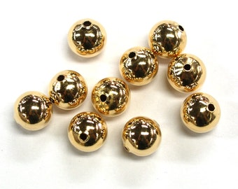 10pc's x 10mm Tarnish Resistant Gold Electroplated Spacer Beads