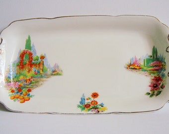 Vintage floral vanity / sandwich tray Made in England