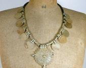 Vintage Silver Tribal Necklace Coin Silver Statement Necklace/ Boho/ Bohemian/Banjara/ Kuchi/Gypsy/ Fashion /Style