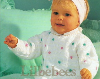 Baby Knitting Pattern PDF, Sweater and trousers in sizes 6.12.18 months.  DKnitting