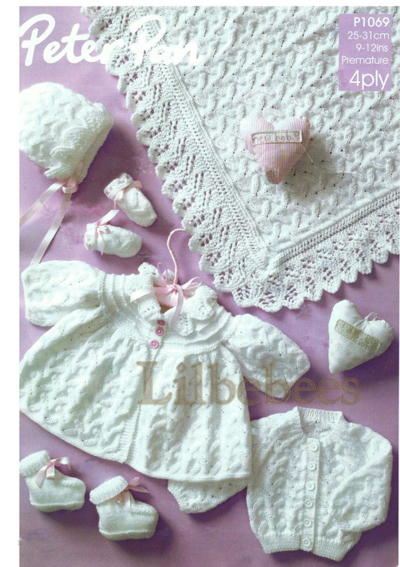 Knitting Patterns For Mittens For Premature Babies : Baby Knitting Pattern PDF. Premature sizes baby shawl coat