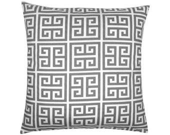 Greek key pattern TOWERS 40 x 40 cm grey white pillowcase