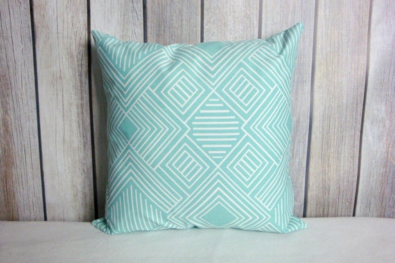 Aqua Pillows. Aqua White Pillows. Pillow Covers. Blue White Pillows. Accent Pillows