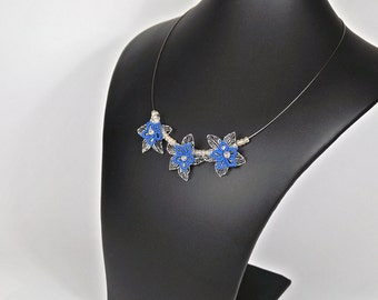 filigree necklace with flowers made of wire, bib necklace, geklöppelt, in blue, pink or turquoise, gift for women,.
