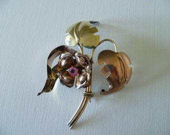 vintage Harry Iskin pin brooch; vintage pin; rose and yellow gold filled pin