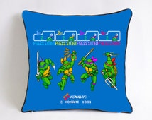 ninja turtles pillowcase-cerulean blue video game throw pillow-ninja ...