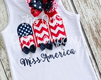 4th of July Miss America Patriotic Flag Applique Shirt
