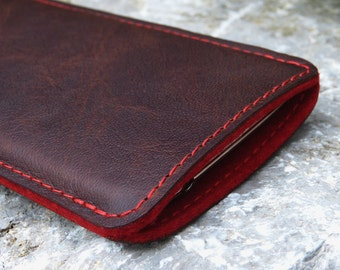 "iPhone 5 leather case, iPhone SE sleeve, iPhone 4 pouch ""Chilli & Whiskey"" leather case, wool felt"