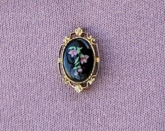 Tiny Enamel Floral Gold Tone Brooch Vintage