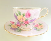 Sweet Pea Paragon Tea Cup and Saucer, Hand Painted Teacup, Pink Tea Cups, April Birth Flower, Tea Set, Bone China Tea Cups, VogueTeam